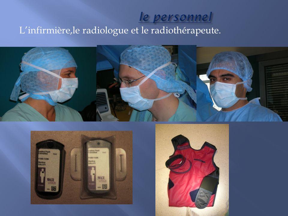 L'infirmière,le radiologue et le radiothérapeute.