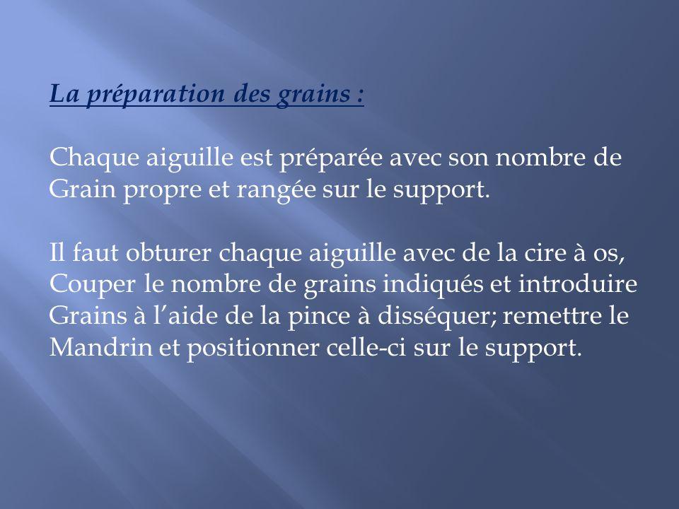 La préparation des grains :