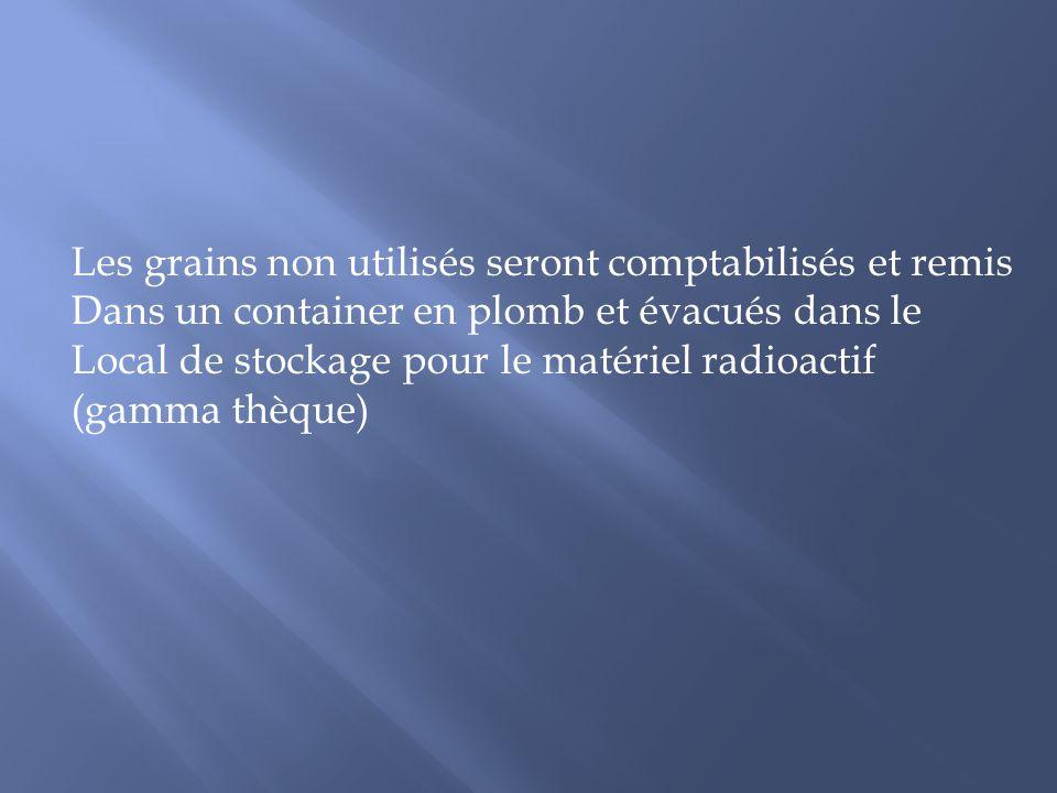 Les grains non utilisés seront comptabilisés et remis
