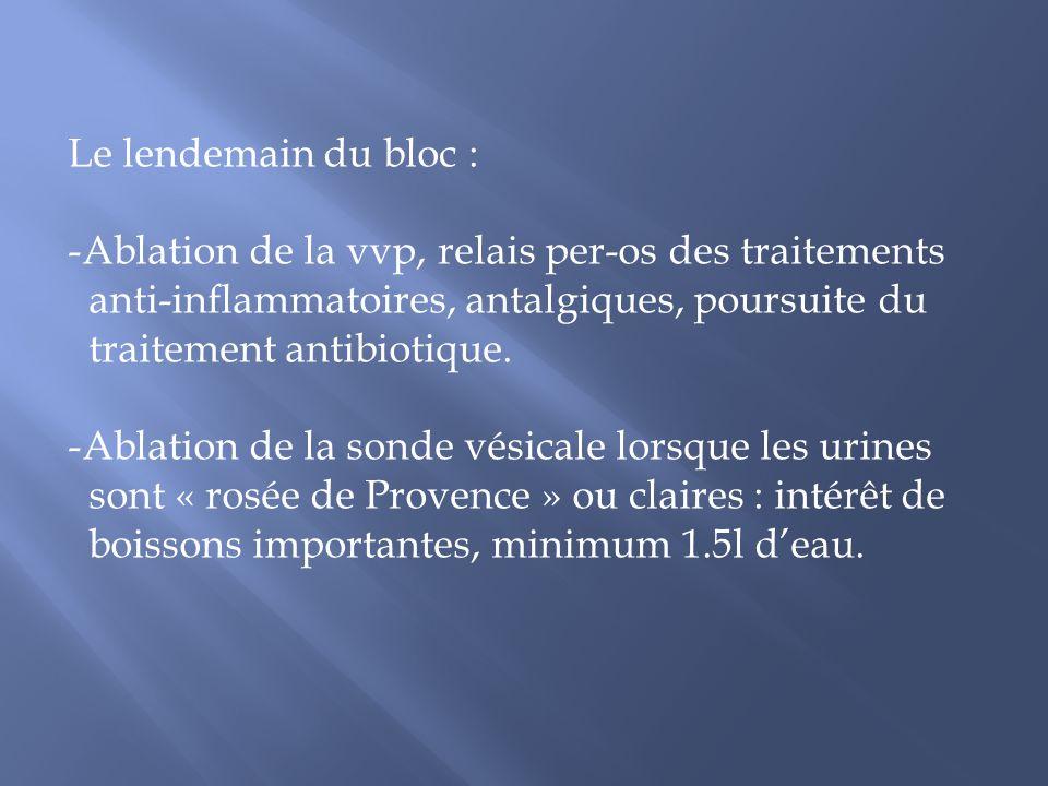 Le lendemain du bloc : Ablation de la vvp, relais per-os des traitements. anti-inflammatoires, antalgiques, poursuite du.