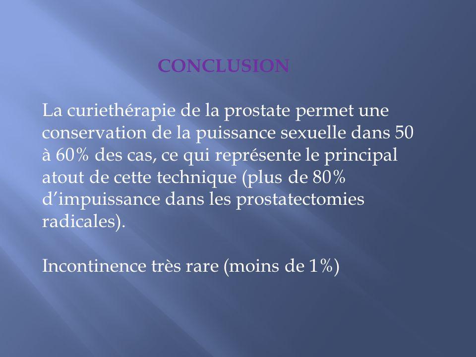 CONCLUSION La curiethérapie de la prostate permet une. conservation de la puissance sexuelle dans 50 à 60% des cas, ce qui représente le principal.