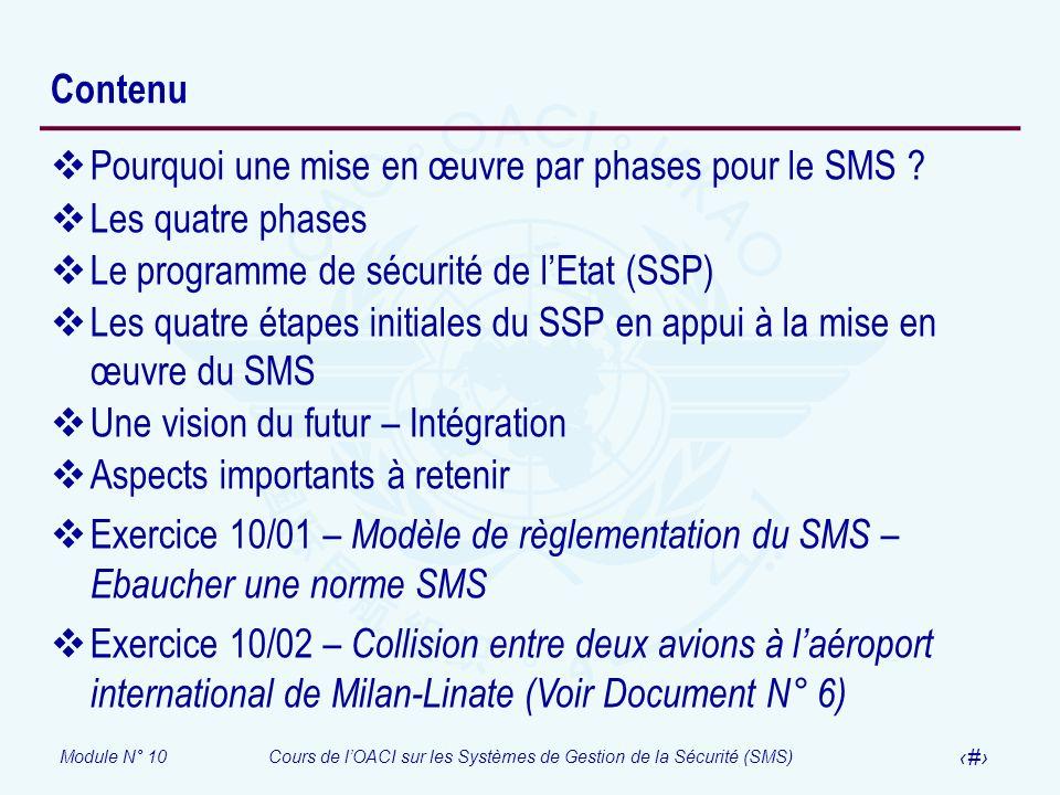 Contenu Pourquoi une mise en œuvre par phases pour le SMS Les quatre phases. Le programme de sécurité de l'Etat (SSP)