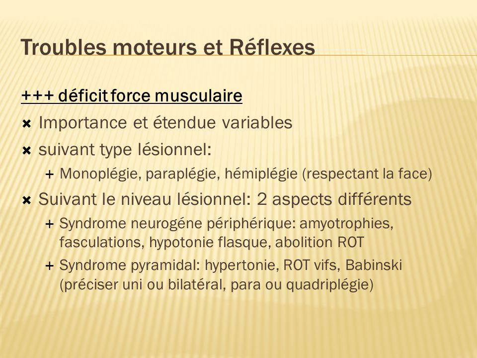 Troubles moteurs et Réflexes