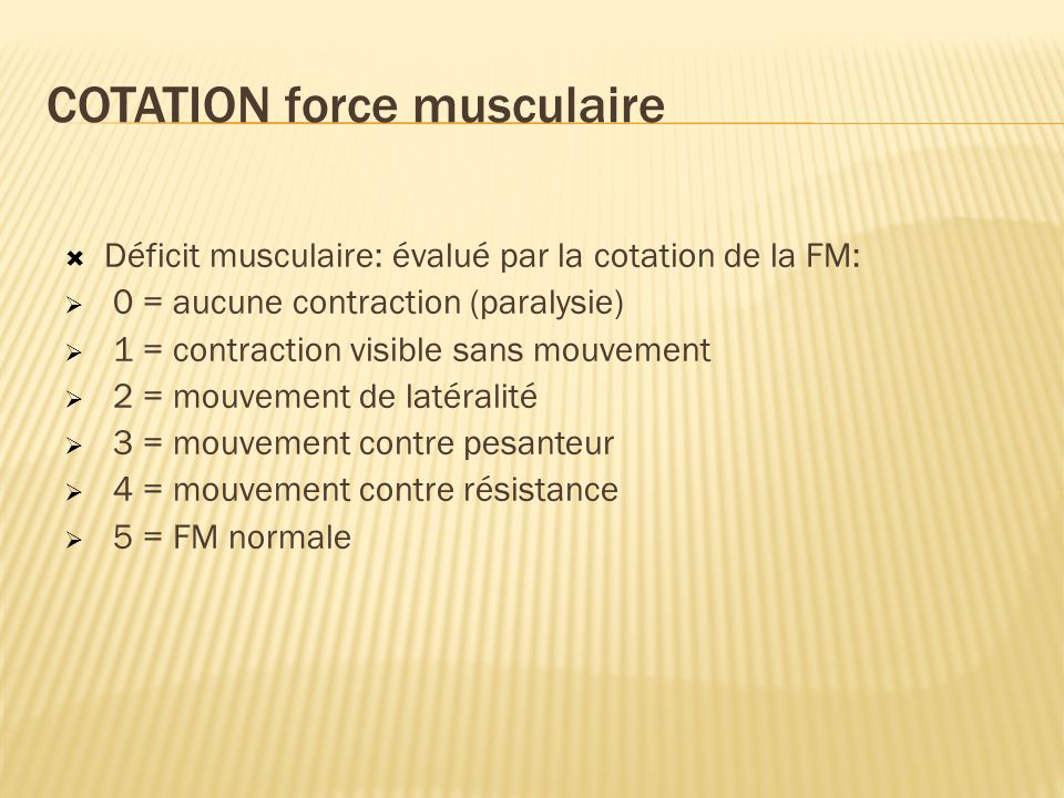 COTATION force musculaire