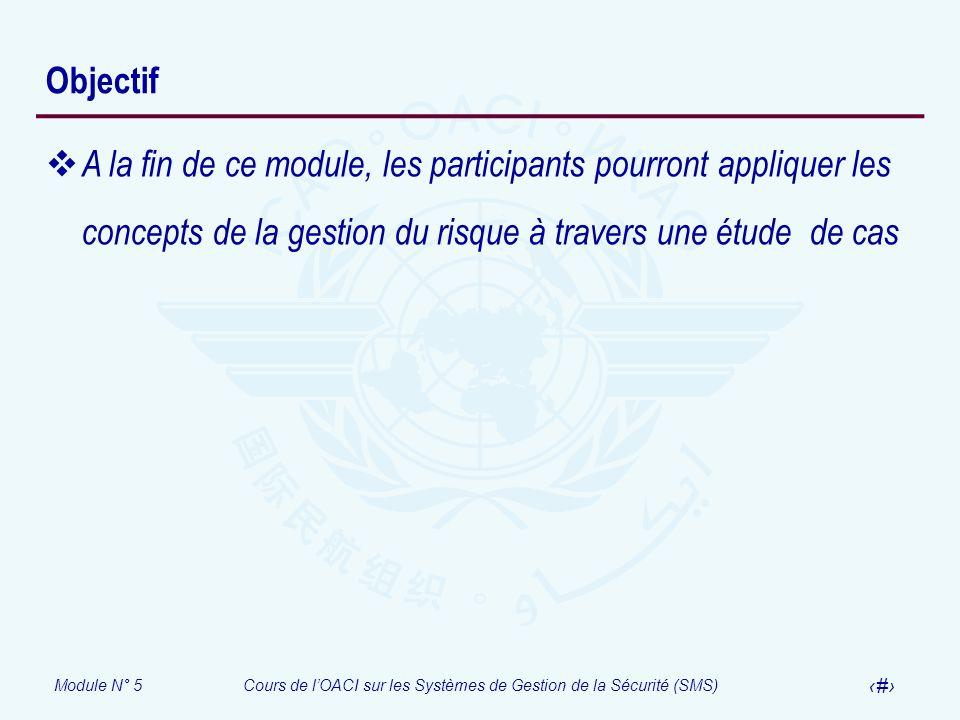 Objectif A la fin de ce module, les participants pourront appliquer les concepts de la gestion du risque à travers une étude de cas.