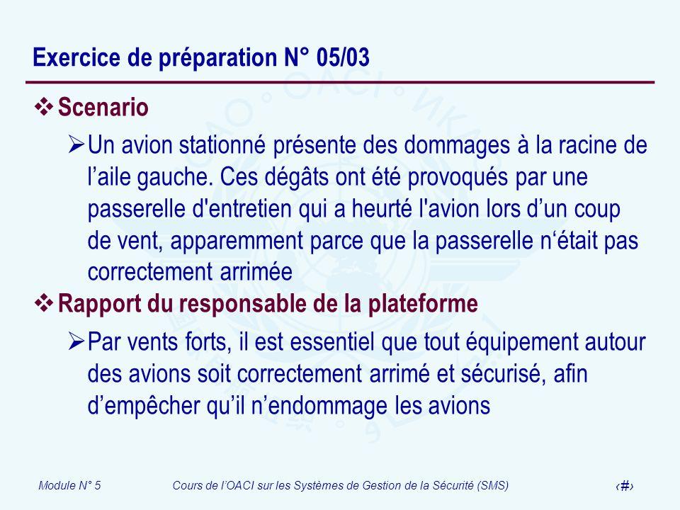 Exercice de préparation N° 05/03