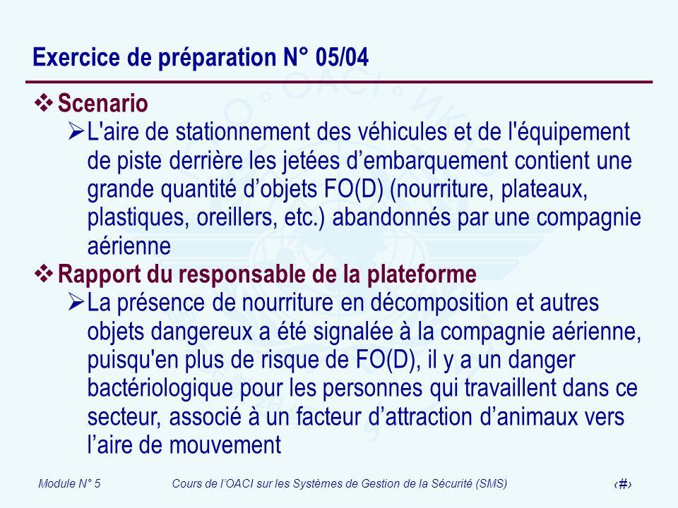Exercice de préparation N° 05/04