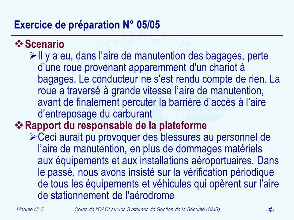 Exercice de préparation N° 05/05
