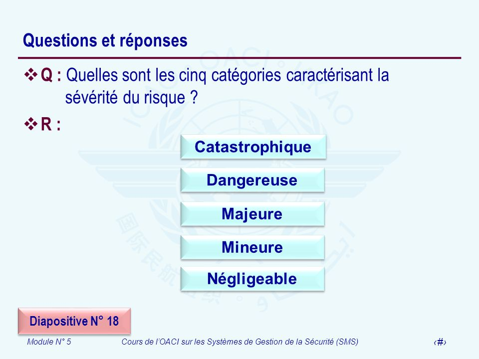 Questions et réponses Q : Quelles sont les cinq catégories caractérisant la sévérité du risque R :