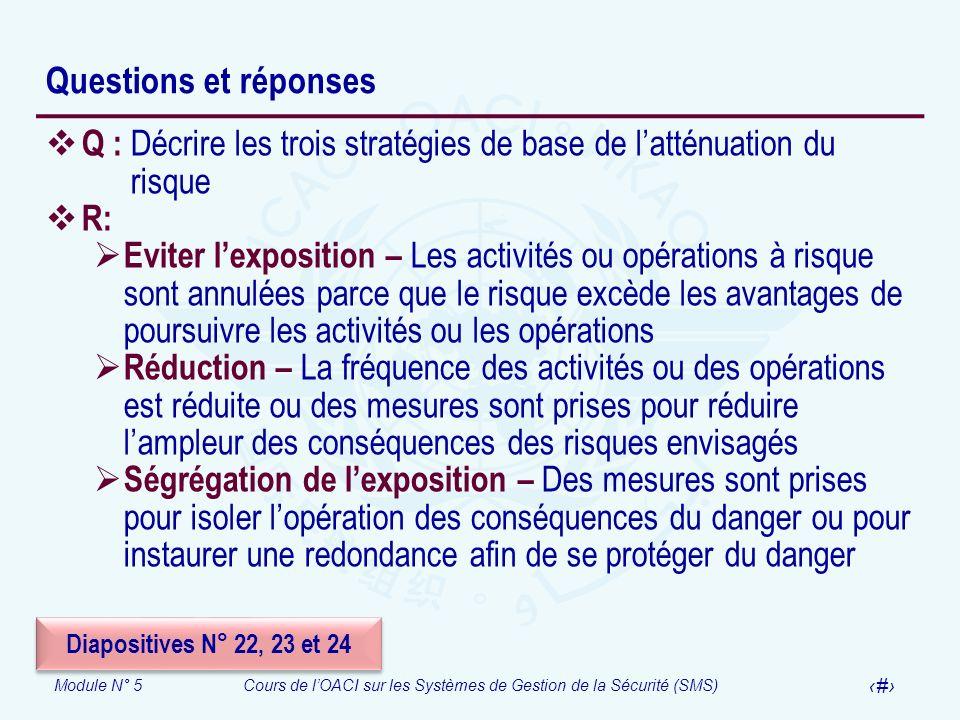 Questions et réponses Q : Décrire les trois stratégies de base de l'atténuation du risque. R: