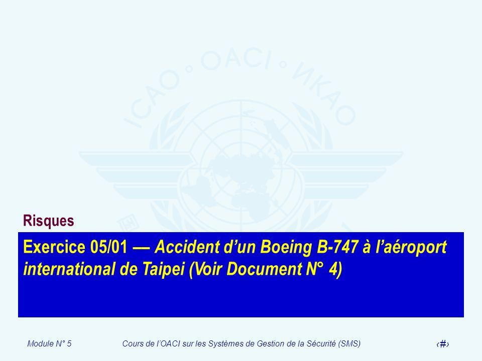 Risques Exercice 05/01 –– Accident d'un Boeing B-747 à l'aéroport international de Taipei (Voir Document N° 4)