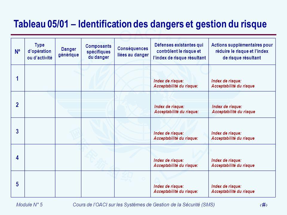 Tableau 05/01 – Identification des dangers et gestion du risque