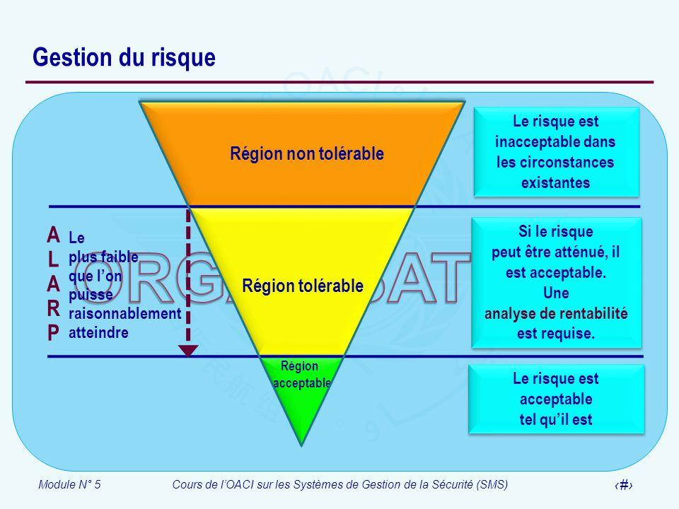 ORGANISATION Gestion du risque A L R P Région non tolérable