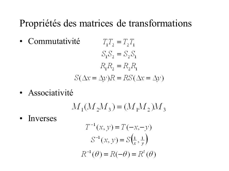 Propriétés des matrices de transformations