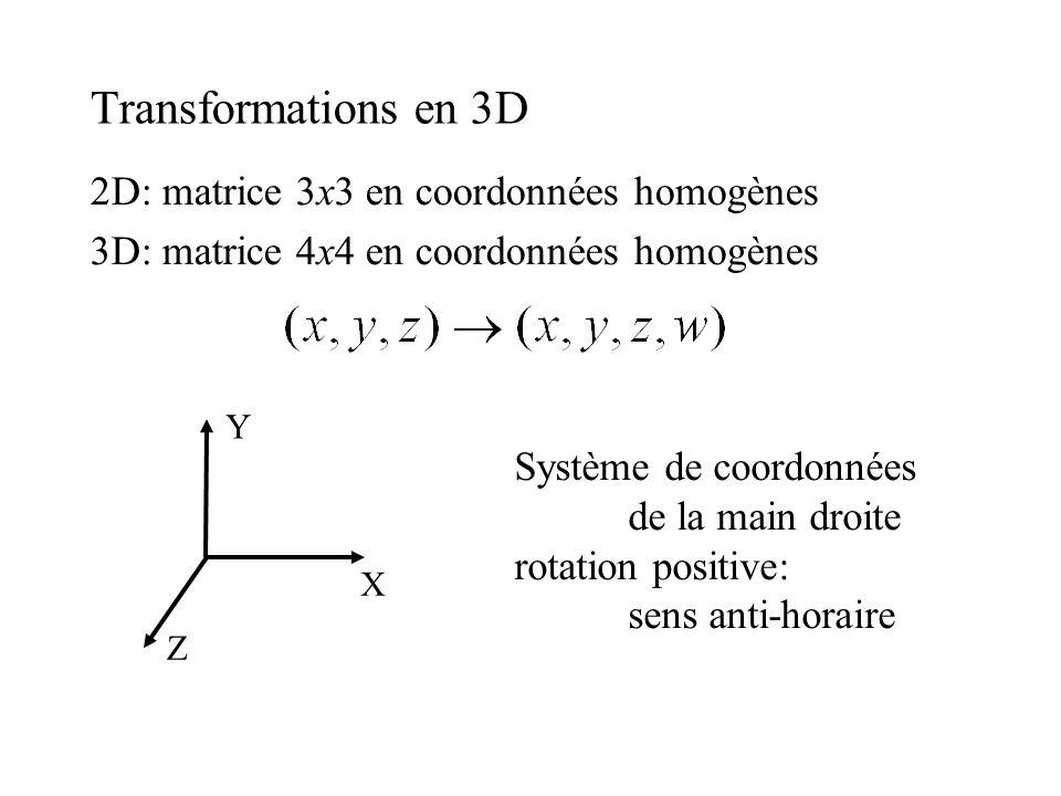 Transformations en 3D 2D: matrice 3x3 en coordonnées homogènes