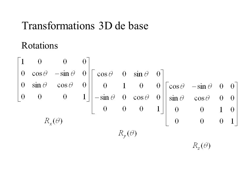 Transformations 3D de base