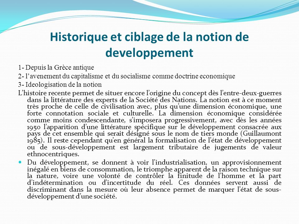 Historique et ciblage de la notion de developpement