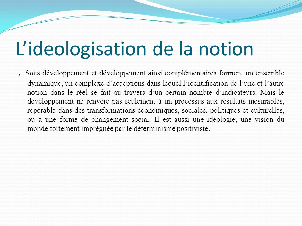 L'ideologisation de la notion