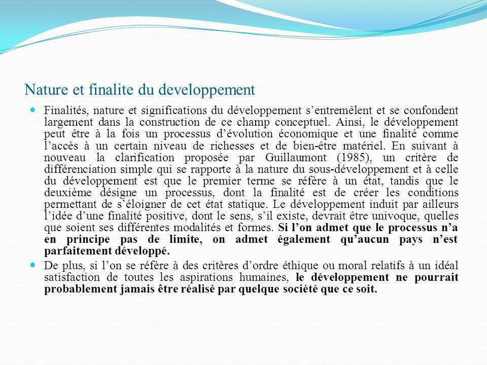 Nature et finalite du developpement