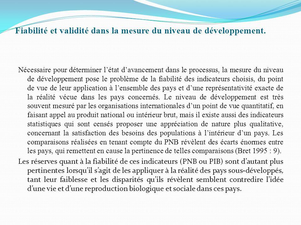 Fiabilité et validité dans la mesure du niveau de développement.