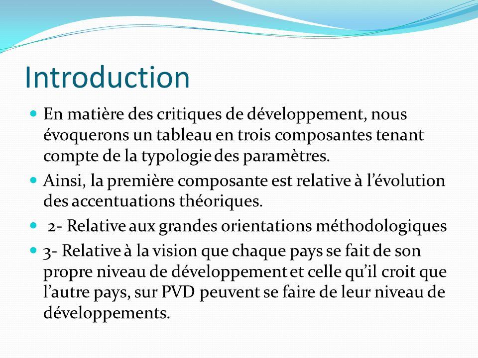 IntroductionEn matière des critiques de développement, nous évoquerons un tableau en trois composantes tenant compte de la typologie des paramètres.