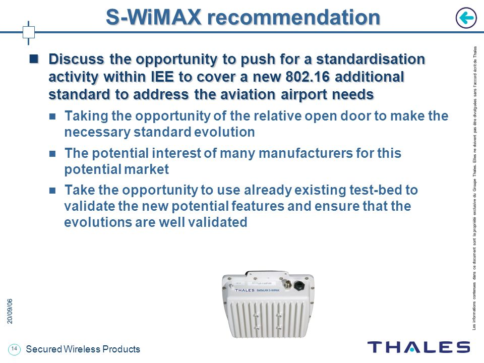 S-WiMAX recommendation