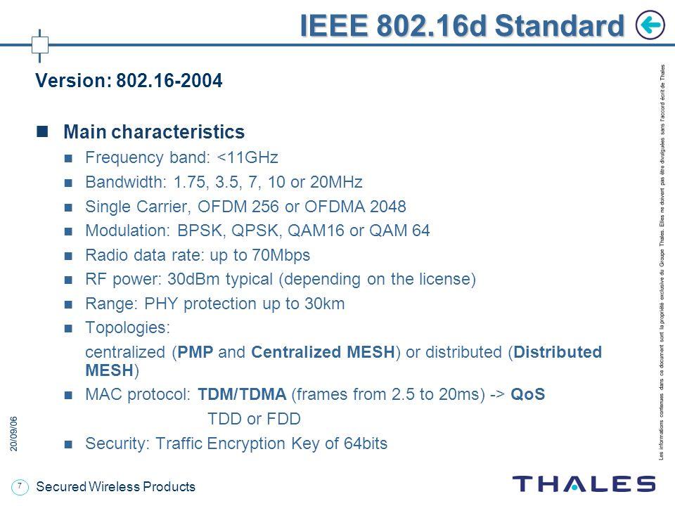 IEEE 802.16d Standard Version: 802.16-2004 Main characteristics