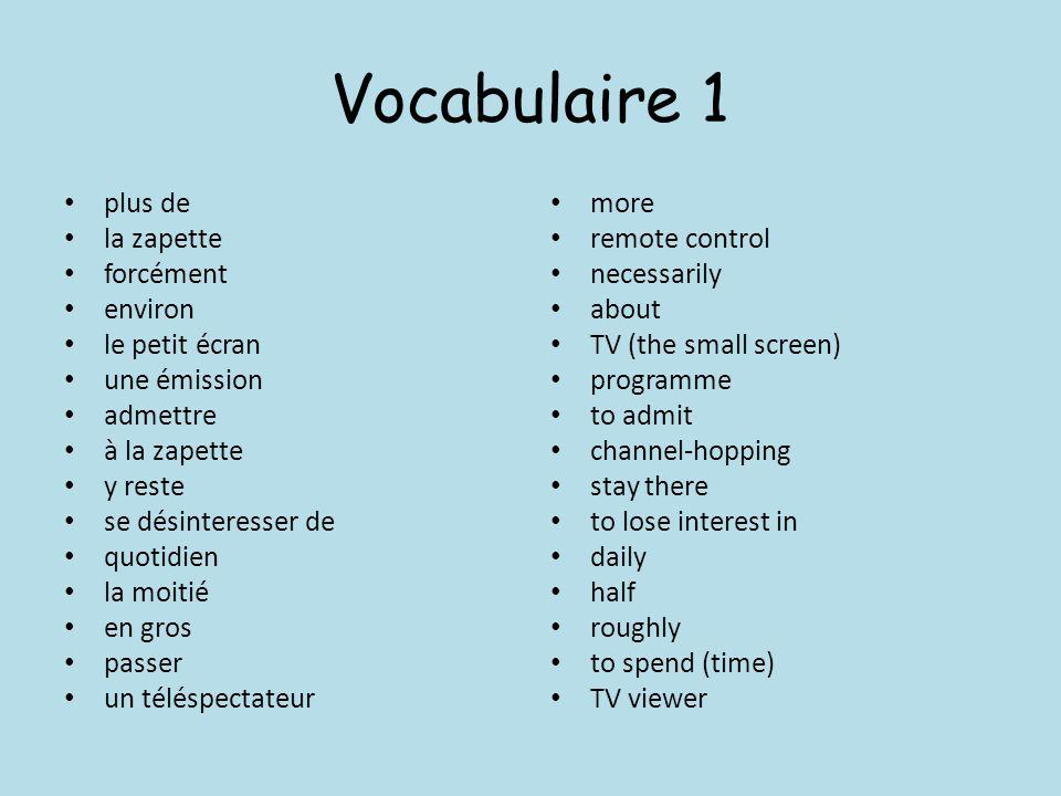 Vocabulaire 1 plus de la zapette forcément environ le petit écran