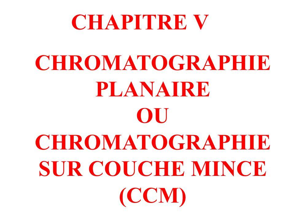 CHROMATOGRAPHIE PLANAIRE CHROMATOGRAPHIE SUR COUCHE MINCE