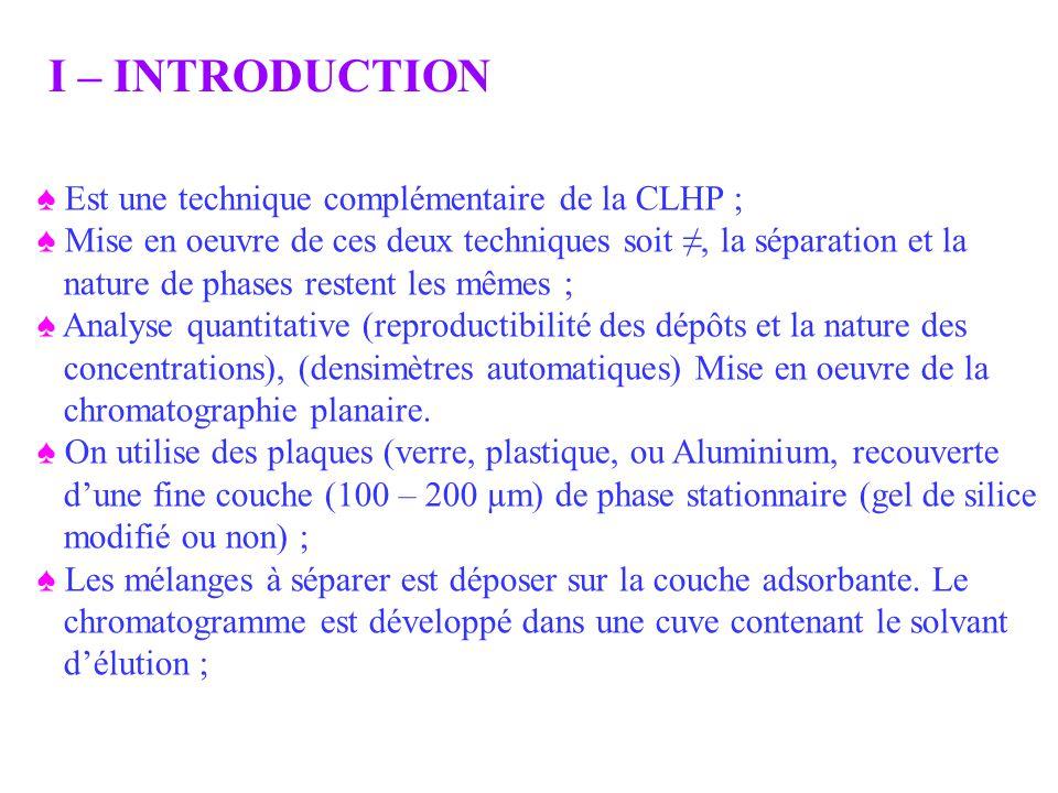 I – INTRODUCTION ♠ Est une technique complémentaire de la CLHP ;