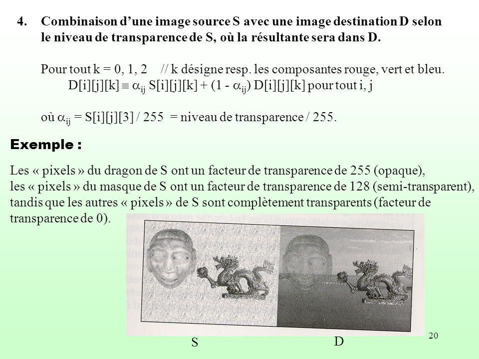 Combinaison d'une image source S avec une image destination D selon