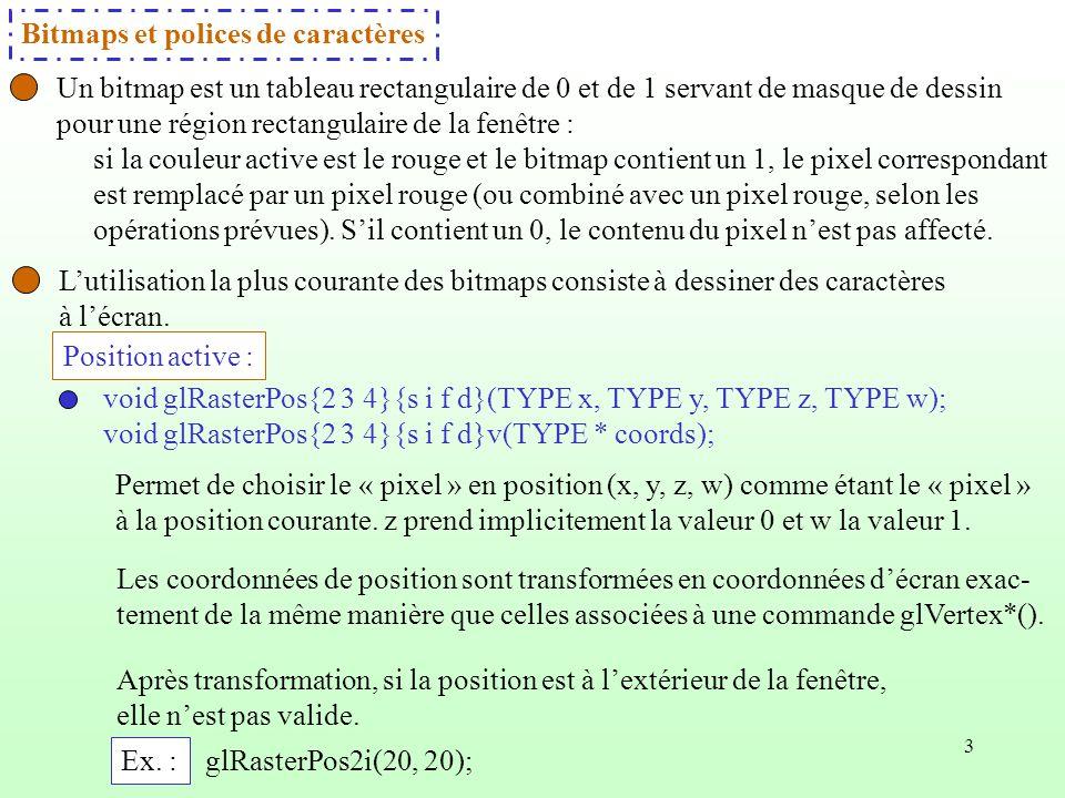Bitmaps et polices de caractères