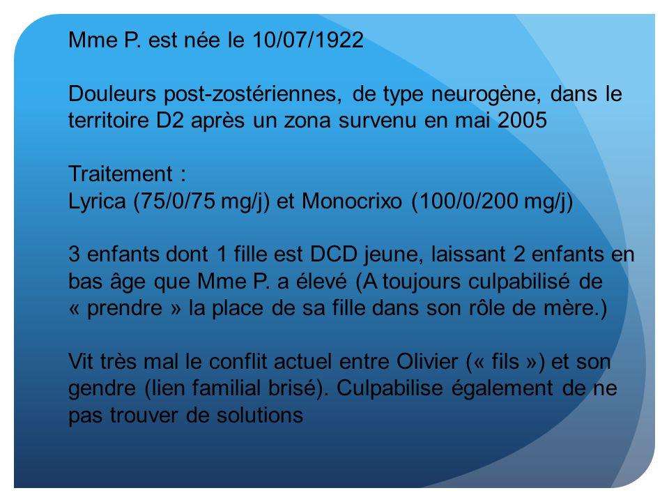 Mme P. est née le 10/07/1922 Douleurs post-zostériennes, de type neurogène, dans le territoire D2 après un zona survenu en mai 2005.