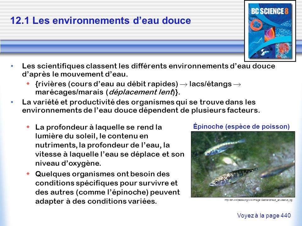 12.1 Les environnements d'eau douce