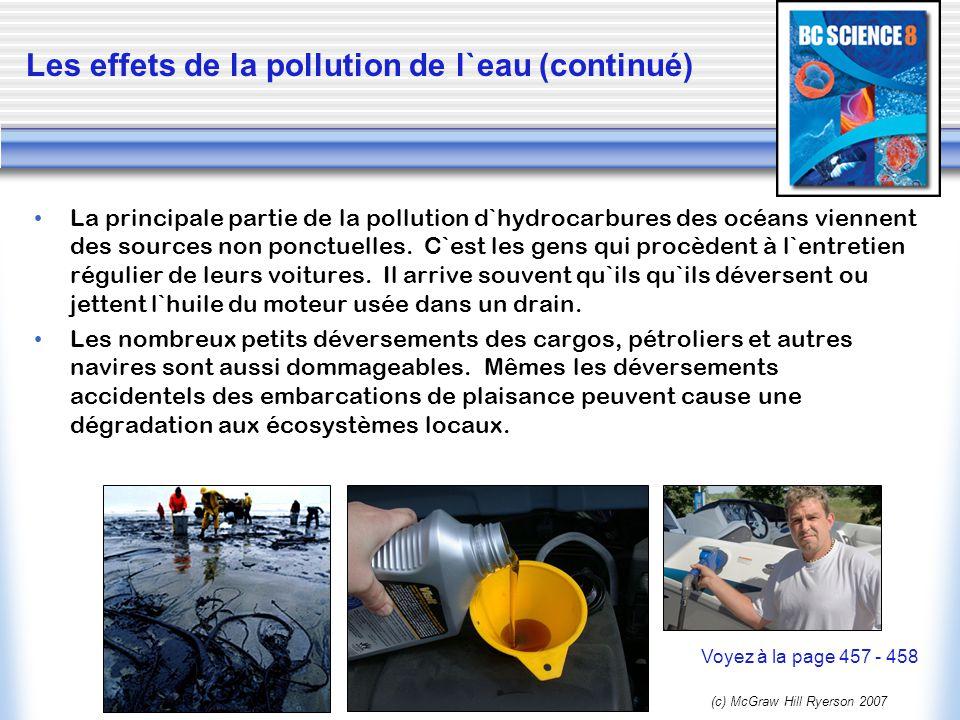 Les effets de la pollution de l`eau (continué)