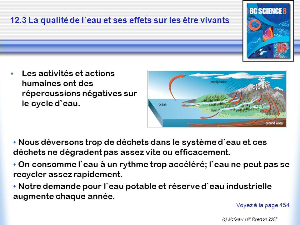 12.3 La qualité de l`eau et ses effets sur les être vivants