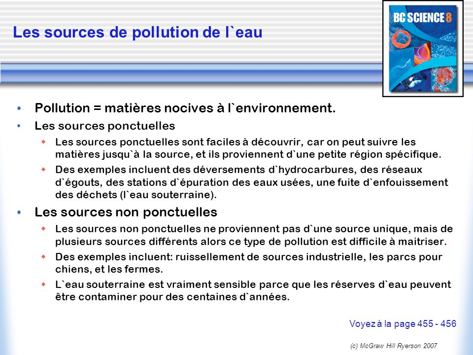 Les sources de pollution de l`eau