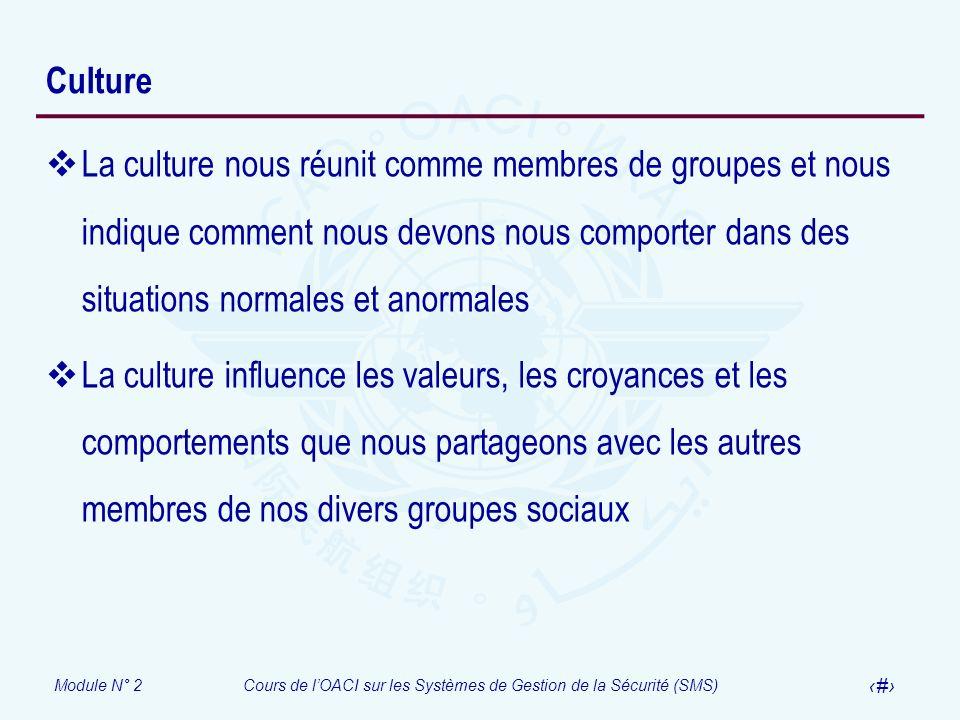 Culture La culture nous réunit comme membres de groupes et nous indique comment nous devons nous comporter dans des situations normales et anormales.