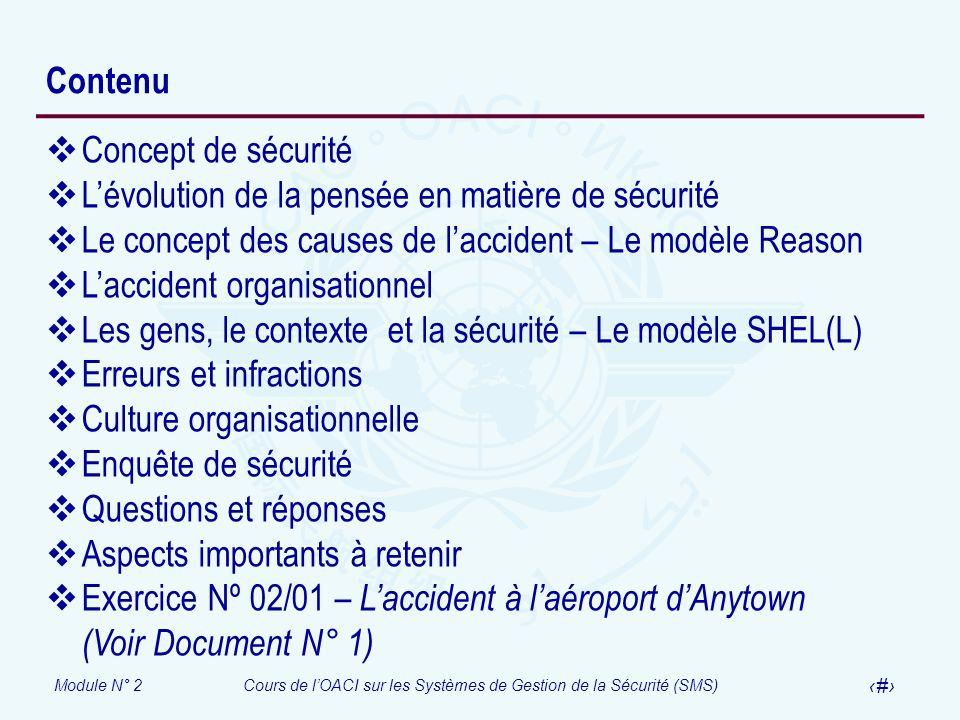 Contenu Concept de sécurité. L'évolution de la pensée en matière de sécurité. Le concept des causes de l'accident – Le modèle Reason.