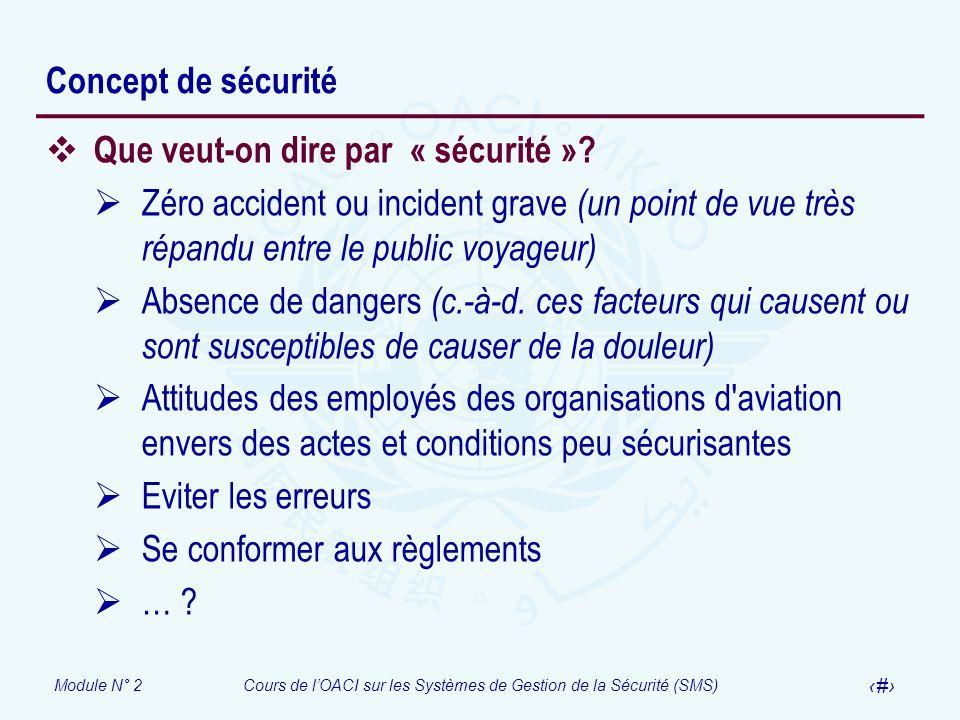 Concept de sécurité Que veut-on dire par « sécurité » Zéro accident ou incident grave (un point de vue très répandu entre le public voyageur)
