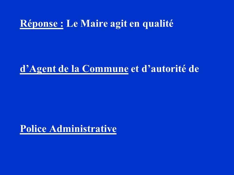 Réponse : Le Maire agit en qualité