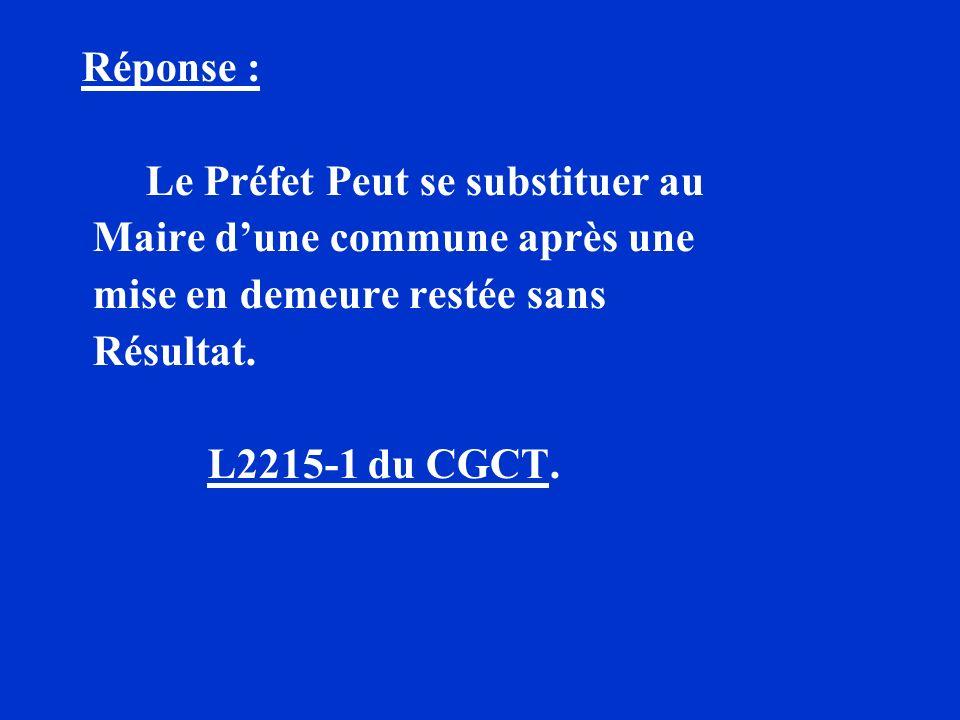 Réponse : Le Préfet Peut se substituer au. Maire d'une commune après une. mise en demeure restée sans.