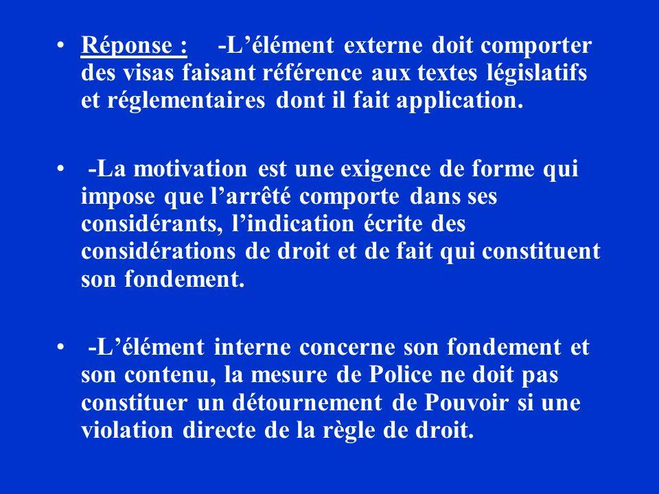 Réponse : -L'élément externe doit comporter des visas faisant référence aux textes législatifs et réglementaires dont il fait application.