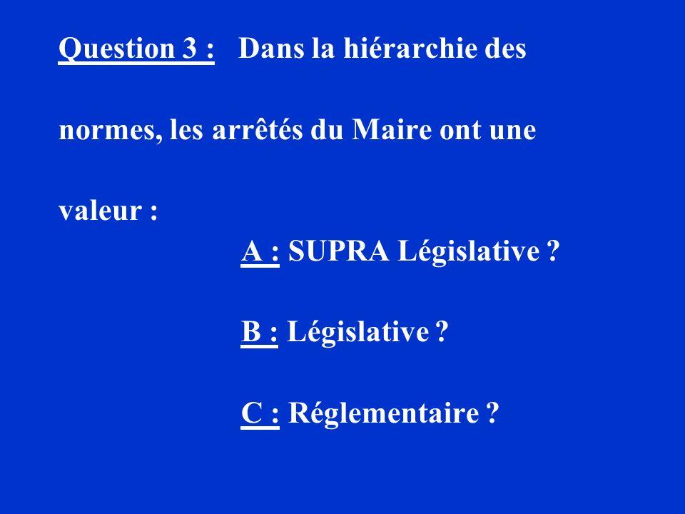 Question 3 : Dans la hiérarchie des