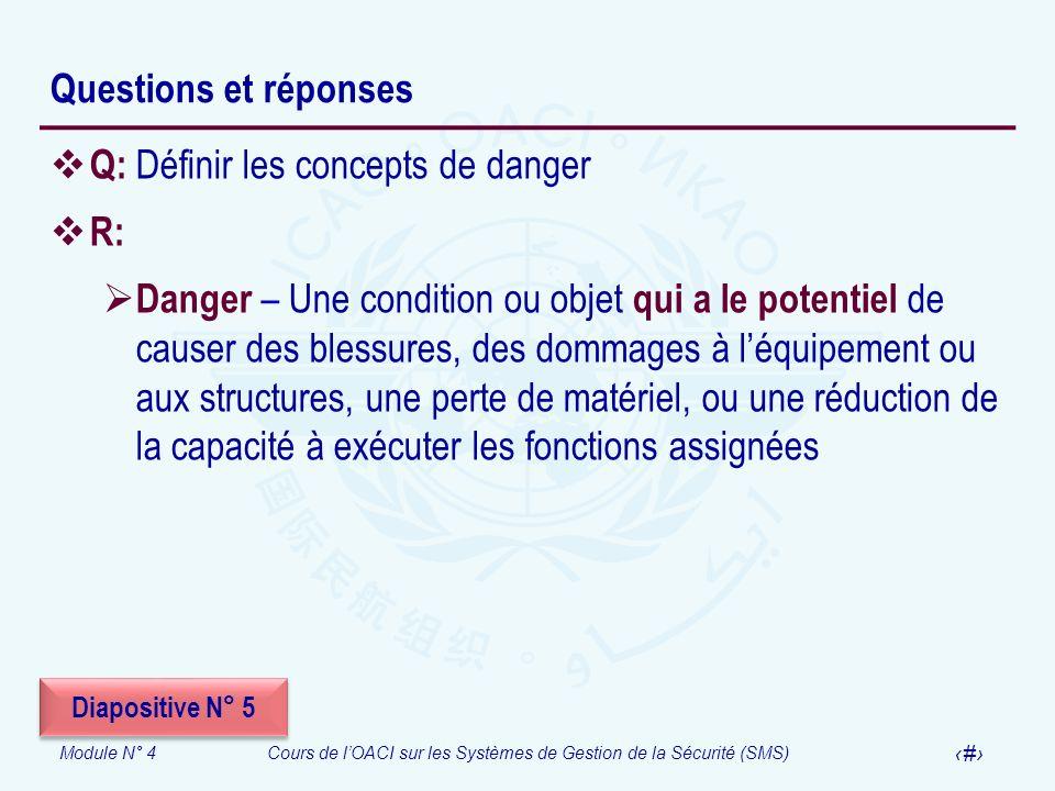 Q: Définir les concepts de danger R: