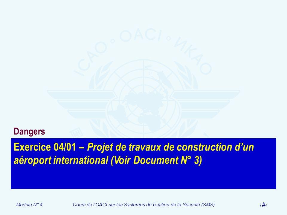 DangersExercice 04/01 – Projet de travaux de construction d'un aéroport international (Voir Document N° 3)