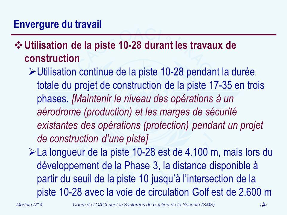 Envergure du travail Utilisation de la piste 10-28 durant les travaux de construction.