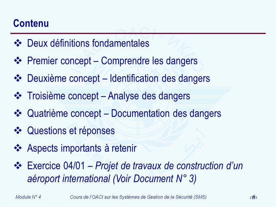 ContenuDeux définitions fondamentales. Premier concept – Comprendre les dangers. Deuxième concept – Identification des dangers.