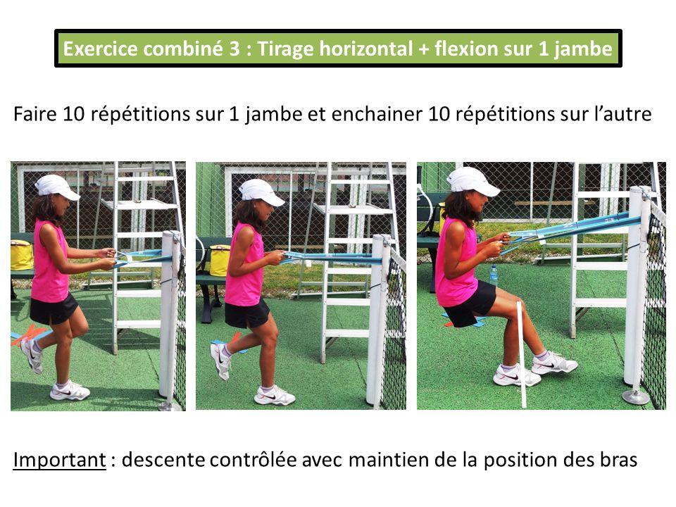 Exercice combiné 3 : Tirage horizontal + flexion sur 1 jambe