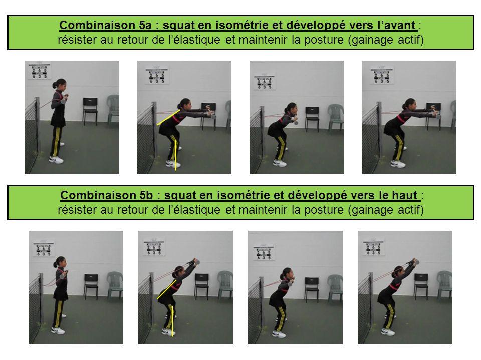 Combinaison 5a : squat en isométrie et développé vers l'avant :